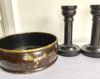 A pair of ebony candle sticks. Victorian 5 inches tall plus a victorian papier mache bowl