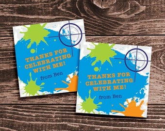 Personalized Paintball Party Favor Tags or Stickers – DIY Printable (Digital File)