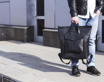 Men Leather Bag,Leather bag, Genuine leather,black backpack,Leather Backpack, Mens backpack,City Style Rucksack,Messenger Bag,Father  Gift