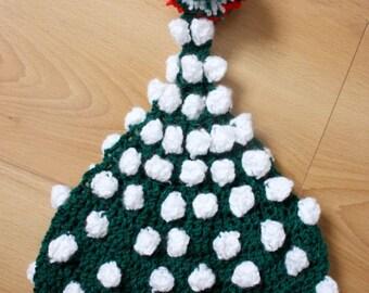 12 to 24m Baby Elf Hat Pom Pom Beanie - Crochet Green Red White Pom Pom Baby Hat Toddler Photo Prop Photo Prop