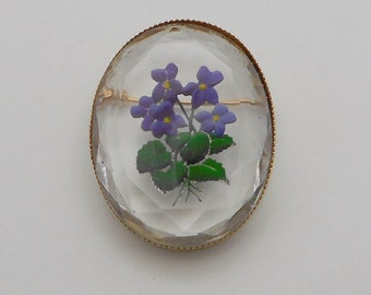 Vintage Reverse Painted/Carved Violets Floral Glass Oval Brooch/Pin