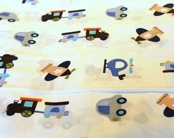 Fabric coupon cars, planes, train 50 x 70 cm