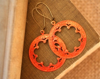 Red Patina Circle  Earrings