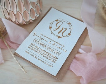 Leather invitations, laser engraved white faux leather stationery. Pack of 10.