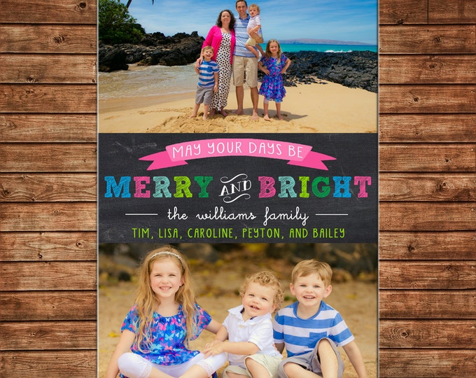 Photo Picture Christmas Holiday Card Beach Whimsical Merry and Bright Colorful - Digital File