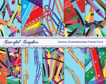 Scrapbook Paper Pack Digital Scrapbooking Background Papers WHIMSICAL Pack Clips CRAYONS Rulers Blue 10 Sheets 8.5 x 11 No 1247gg