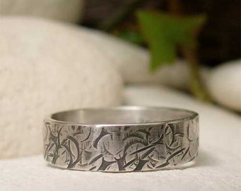 Distressed Hammered Sterling Silver Band Ring, Hand Forged Metalsmith Jewelry,  Thumb or Finger Ring, Rustic Texture Grunge Wedding Jewelry
