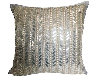 Silver Gray Throw Pillow Cover , Grey Gold Pillow