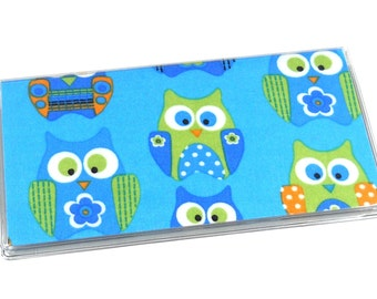 Checkbook Cover Blue Owls