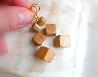 Dangle retro wood earrings  Eco wooden blocks earrings  Natural wooden jewelry  Earthy earrings for women Wood jewelry  Wooden gift for wife
