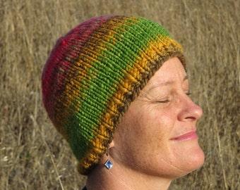 Handspun, Handpainted & Hand Knit Merino Wool Beanie - Thick, Warm and Soft - Harvest