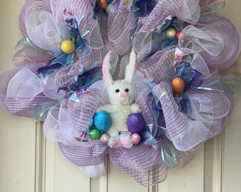 Easter bunny wreath for front door, wreath for front door, holiday wreath, easter wreath for front door
