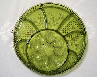 Vintage Olive Green Glass Egg Hors Doeuvre Tray Relish Tray Platter Deviled Eggs Snacks Indiana Glass PanchosPorch