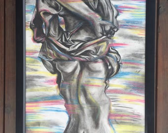 Introverting - Original Charcoal Drawing Framed Fine Art