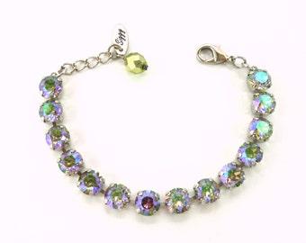 8mm Swarovski Elements Tennis Bracelet, Paradise Shine, Select A Finish, Gorgeous, Purple, Blue, Green, Siggy Jewelry, FREE SHIPPING