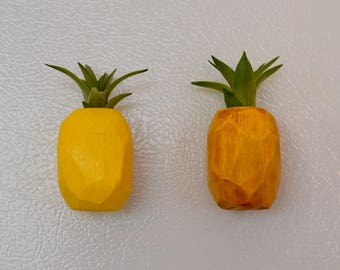 Two Pineapple Air Plant Holders with Air Plants