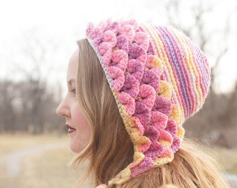 NEW - Crochet Pattern Crocodile Stitch Capuche Hat (Adult Size) instant PDF download
