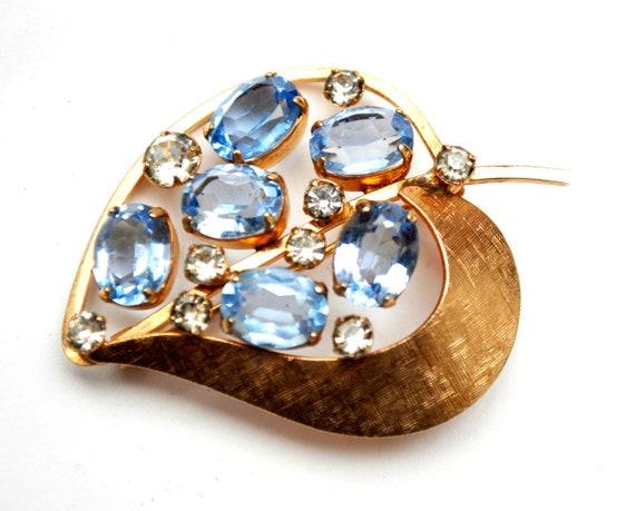 Blue Rhinestone leaf  brooch  1/20 gold filled  signed VD  Van Dell  Lavender blue floral flower  pin light purple