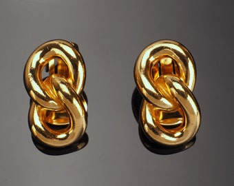 Dior Earrings, Signed Christian Dior Clip on Earrings, Gold Plated