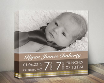 Baby Birth Stats Canvas, Baby Announcement Nursery Wall Decor, Newborn Photo Stats, New Baby Wall Art, Gift for Baby Girl Boy Canvas