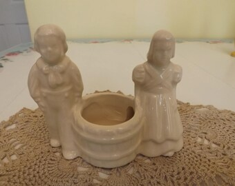Vintage Boy and Girl with Barrel Planter/Ivory/Planters and Pots/Home and Living/Home and Garden/Mid Century Planter/Indoor Planter