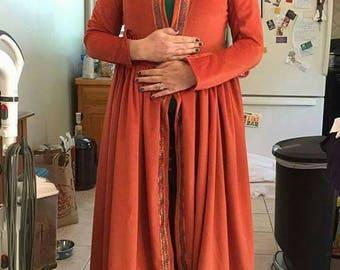 Orange Velour Tudor Overcoat