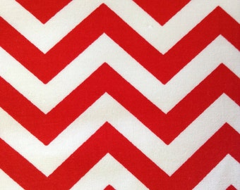 SALE - One Yard of Fabric Material - Red and White Chevron