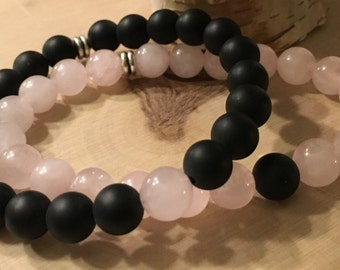 Stackable Rose Quartz & Onyx Gemstone Bead Bracelets
