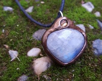 Flashy Rainbow Moonstone with Citrine Swarovski Crystal Pendant