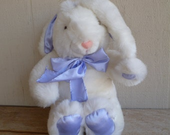 Vintage Plush Bunny Rabbit Purple Satin