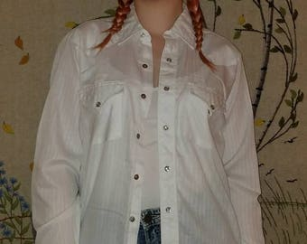 Vintage White Snap Front Western Shirt