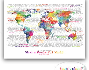 World map poster etsy wonderful world map poster art artistic world map watercolor world map in rainbow large world map typography printable map with text art gumiabroncs Image collections