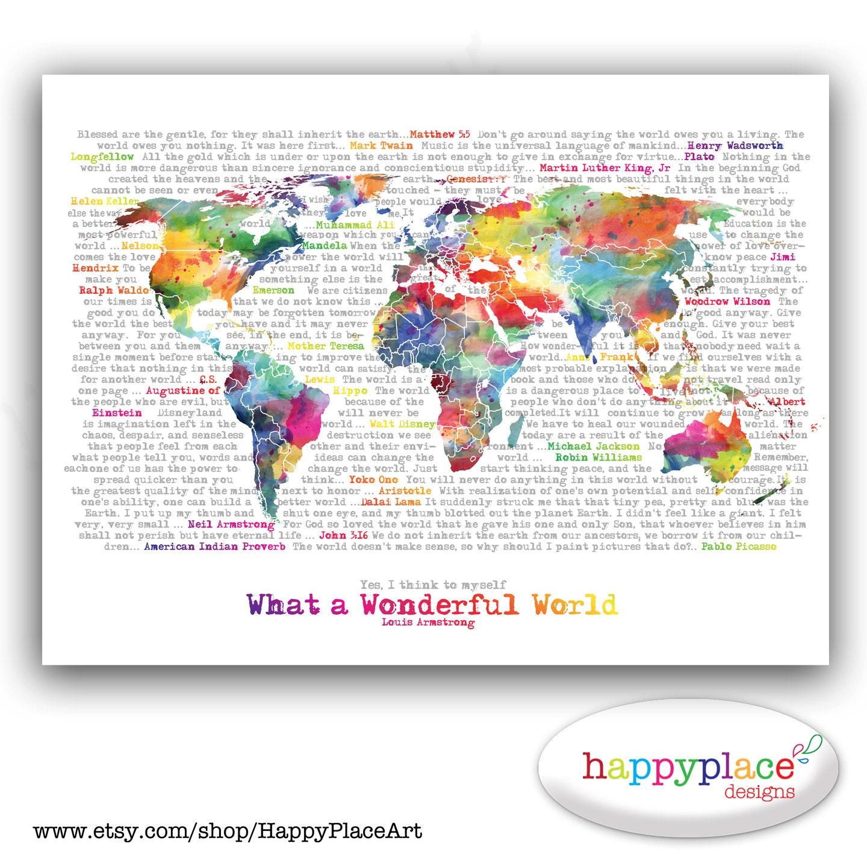 Wonderful World Map Poster Art Artistic World Map - Artistic world map