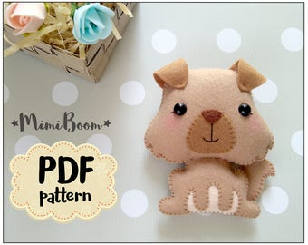 Dog felt pattern PDF ornament dog pattern PDF tutorial animals sewing pattern DIY sewing pattern pattern felt