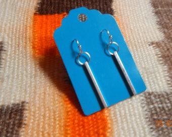 Silver-tone Square Bar Dangle Earrings