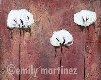 Cotton Row in Red Original Acrylic Painting