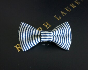 Mens Bow Tie Lapel Pin - Wedding Boutonniere - Buttonhole - Mini Bowtie Pin - White Navy Stripes