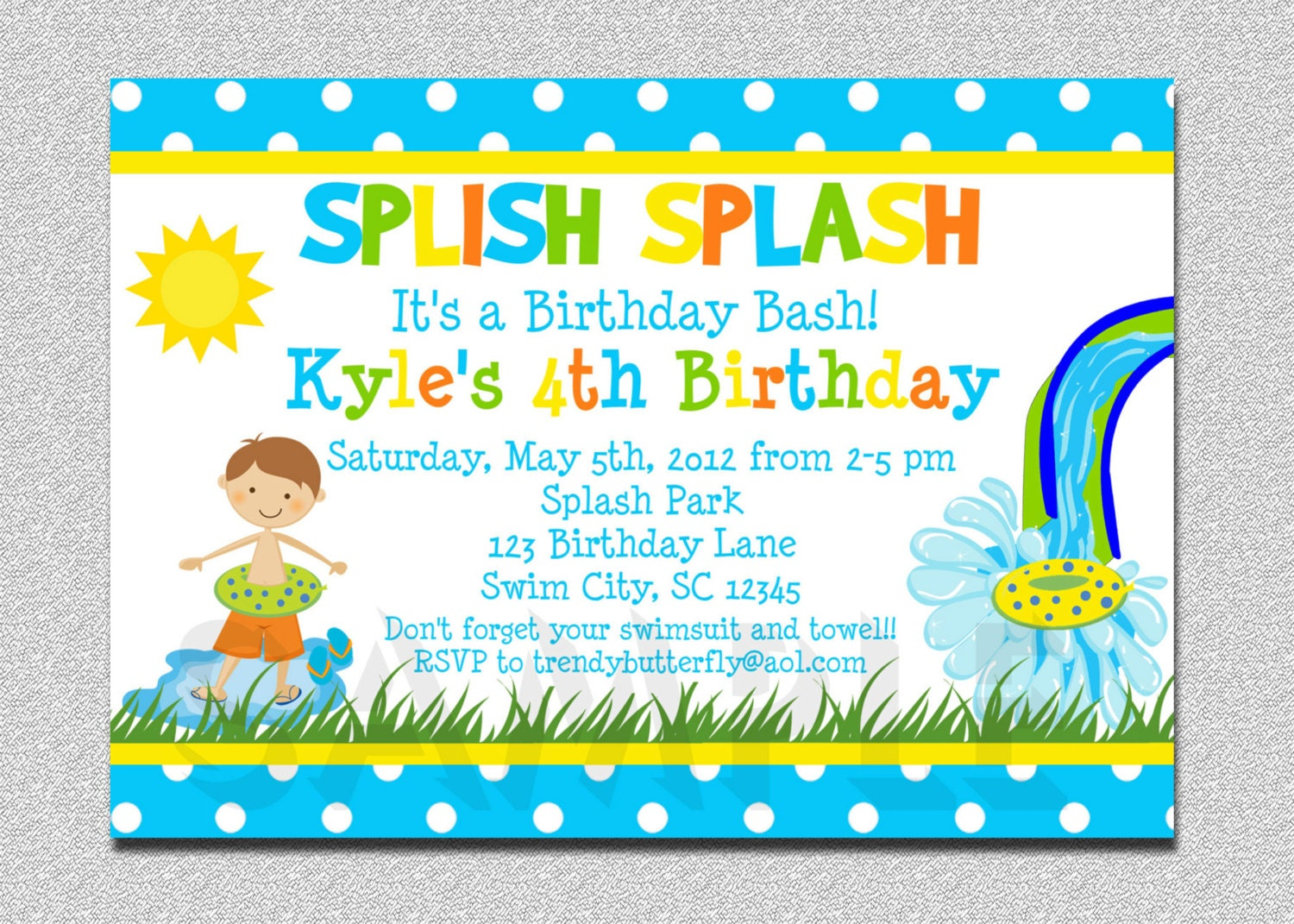 Boys pool waterslide birthday invitation waterslide zoom filmwisefo Image collections