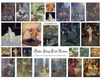 FAIRY TALE DREAMS digital collage sheet, vintage images ephemera, Victorian art, night mysterious dark magic fantasy illustrations, Download