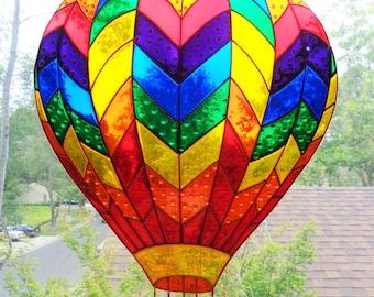 "Hot air balloon art 11""x13"" Glass painting Suncatcher Stained glass"