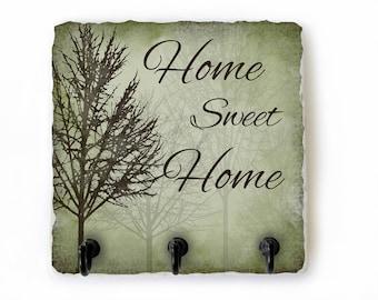 Home Sweet Home Key Hook, Key Rack Housewarming Gift, Key Ring Hooks, Necklace Hanger, Green and Brown Wall Key Holder  (95)