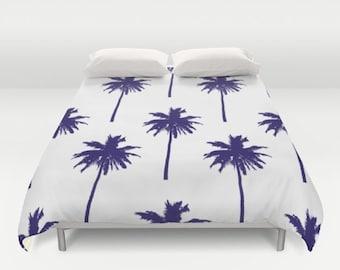 Palm Tree Duvet Cover - Nautical Bedding - Queen Size Duvet Cover - King Size Duvet Cover - Full Size Duvet Cover - Tropical Bedding