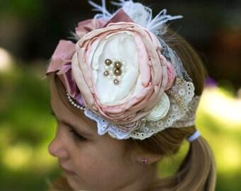 Persnickety Headband,Matilda Jane Headband,M2M Headband,Vintage Headband,Baby Girls Headband,Flower Girl Headband,Ivory headband, pink