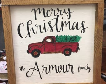 Personalized Farm Truck Wooden Sign