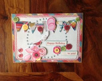 Double card, handmade, 3D, birthday, banners and balloons