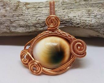 Shiva Eye Pendant, Shiva Eye Necklace, Shell Wire Wrapped Pendant, Gemstone Pendant, Shiva Eye Jewellery, Gemstone Wire wrapped Jewelry