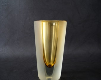 Murano Sommerso glass vase, glass vase 60 years with overcatching, Blockvase amber colors