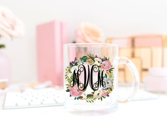 Monogram Mug Bridesmaid Mug Clear Mug Bridesmaid Glass Mug Coffee Lover Mug Glass Coffee Mug Coffee Lover Gift Woman Gift Bridesmaid Gift