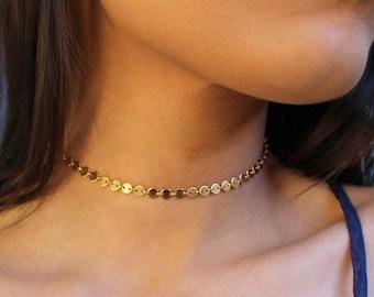 STATEMENT CHOKER, Gold Choker Necklace, tattoo choker, gold filled, sterling silver choker , Minimalist choker, delicate layering  choker