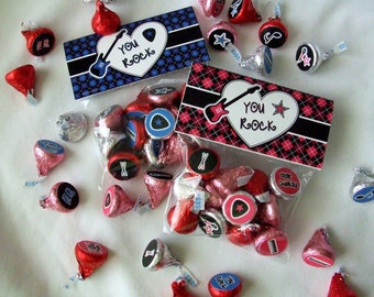 INSTANT DOWNLOAD - Printable Valentine Treat Bag Toppers & Hershey's Stickers Set -  You Rock -  Rock Star